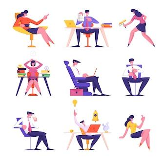 Conjunto de personagens de executivos trabalhando no escritório, sentados à mesa com documentos e laptop