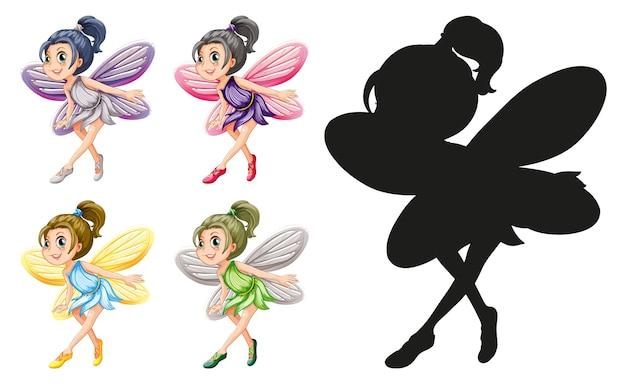 Conjunto de personagens de fadas e sua silhueta em fundo branco