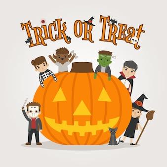Conjunto de personagens de fantasia de halloween, happy halloween, doçura ou travessura