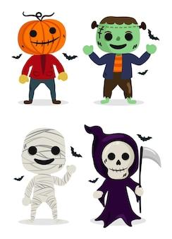 Conjunto de personagens de fantasia de halloween