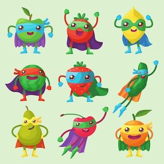 Conjunto de personagens de frutas, frutas vermelhas e vegetais como super-heróis.