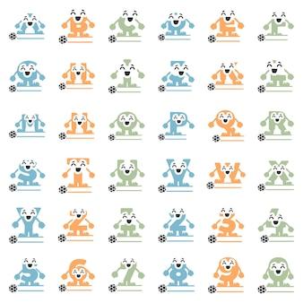 Conjunto de personagens de futebol em forma de letras e números monogramas personalizados