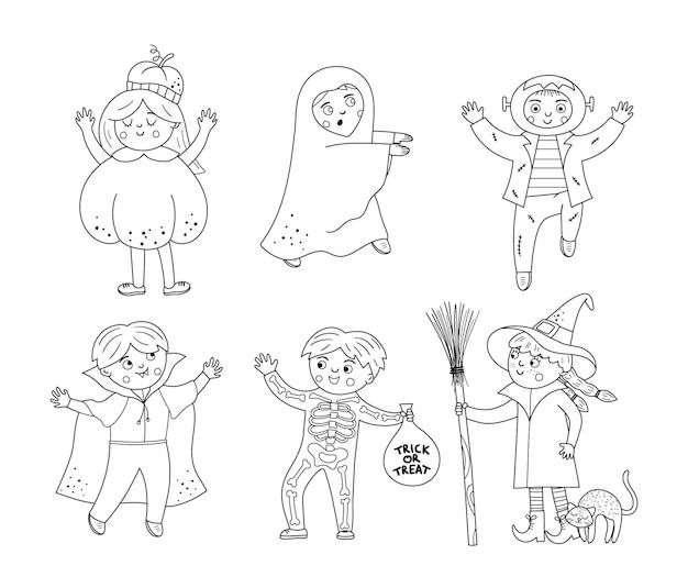 Conjunto de personagens de halloween de vetor preto e branco fofos crianças em fantasias assustadoras