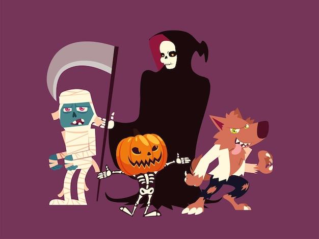 Conjunto de personagens de halloween lobisomem, múmia, morte, abóbora e esqueleto