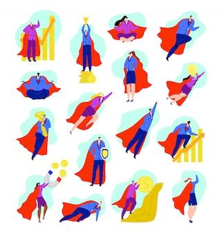Conjunto de personagens de heróis de negócios de empresário de super-heróis no conceito de poder e força, ilustrações de desenhos animados de homem forte, vencedor e poderoso. voando para o sucesso, heroísmo e superar obstáculos.
