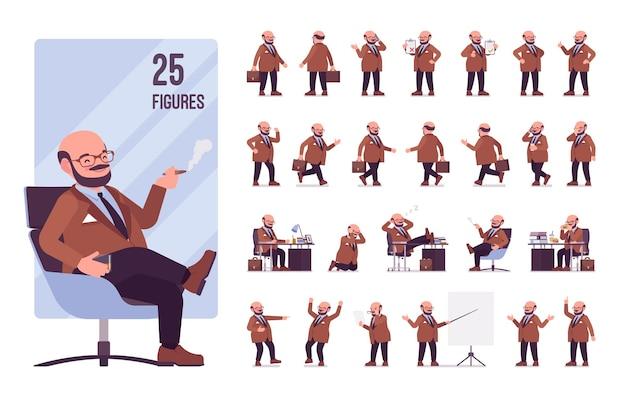 Conjunto de personagens de homem pesado e gordinho
