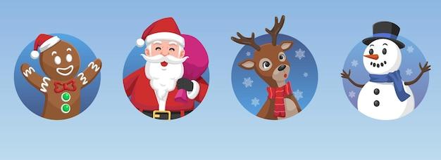Conjunto de personagens de ícones de natal conjunto de papai noel gingerbread deer e snow man