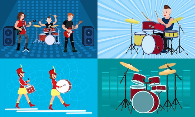 Conjunto de personagens de ilustração de baterista