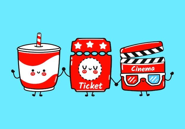 Conjunto de personagens de ingressos de limonada para filmes engraçados e fofos felizes