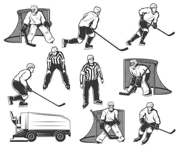 Conjunto de personagens de jogador de hóquei no gelo, goleiro e árbitro.