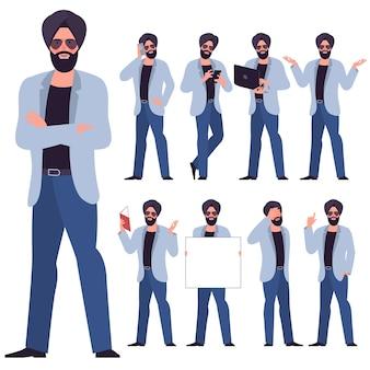 Conjunto de personagens de jovem empresário sikh indiano