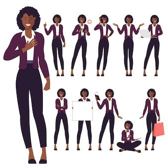 Conjunto de personagens de jovem negra afro-americana de design plano