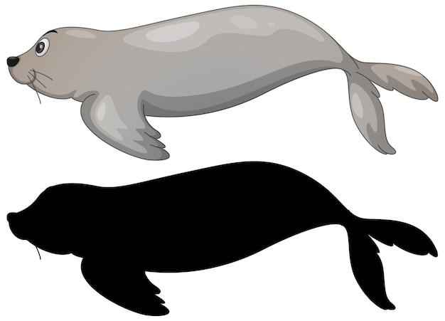 Conjunto de personagens de leões marinhos e sua silhueta em branco