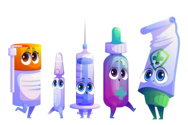 Conjunto de personagens de medicamentos ou medicamentos para desenhos animados