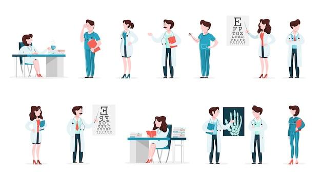 Conjunto de personagens de médicos e enfermeiras com várias poses
