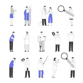 Conjunto de personagens de médicos e pacientes.