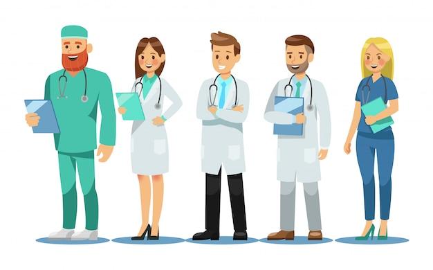 Conjunto de personagens de médicos