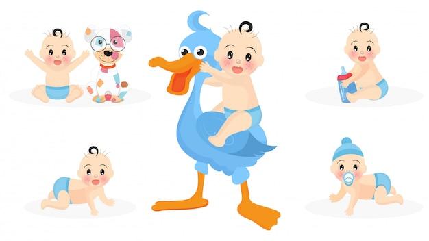 Conjunto de personagens de menino fofo infantil com cegonha