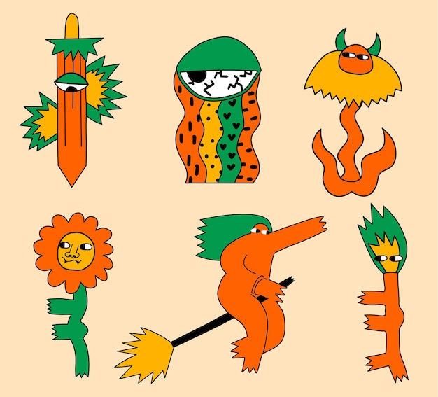 Conjunto de personagens de monstros de halloween