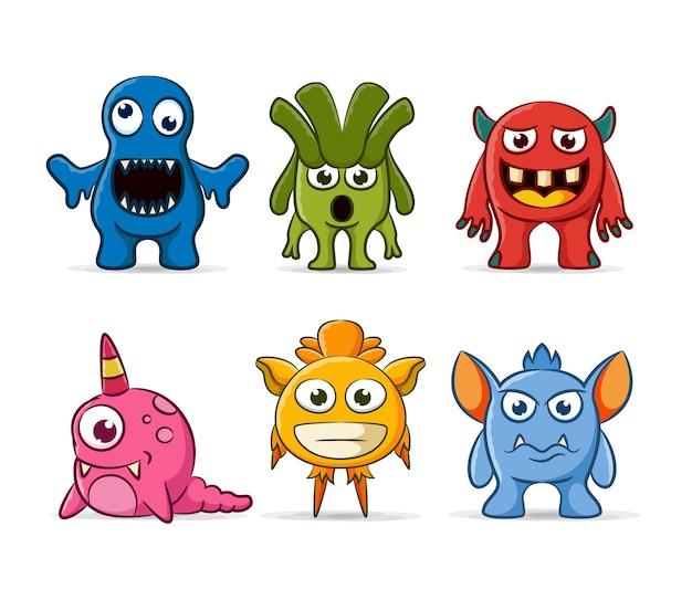 Conjunto de personagens de monstros fofos