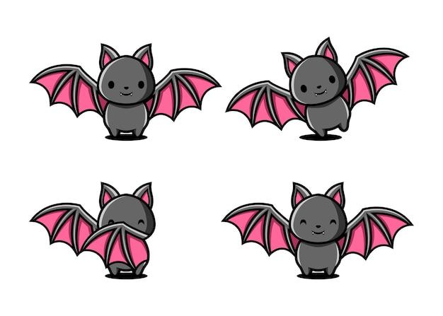 Conjunto de personagens de morcegos de desenho animado