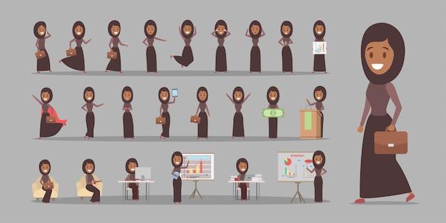 Conjunto de personagens de mulher de negócios árabe ou trabalhador de escritório em terno nacional com várias poses, emoções de rosto e gestos. ilustração em vetor plana isolada