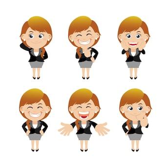 Conjunto de personagens de mulheres de negócios em diferentes poses