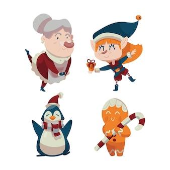 Conjunto de personagens de natal desenhados