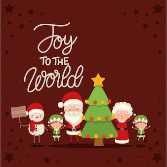 Conjunto de personagens de natal e alegria, as letras do mundo sobre fundo vermelho.