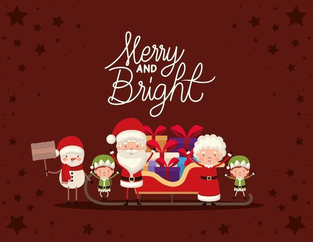 Conjunto de personagens de natal e letras alegres e brilhantes sobre fundo vermelho.