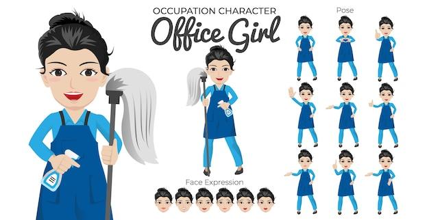 Conjunto de personagens de office girl com variedade de expressões faciais e de pose