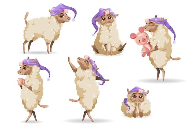 Conjunto de personagens de ovelhas fofas