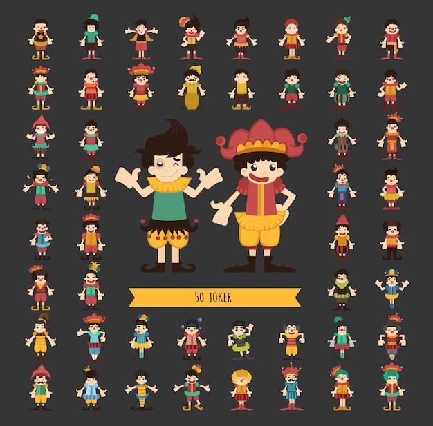 Conjunto de personagens de palhaço