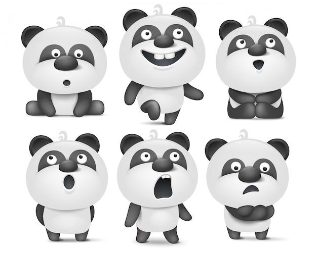 Conjunto de personagens de panda bonito dos desenhos animados com várias emoções