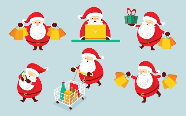 Conjunto de personagens de papai noel, conceito de compras