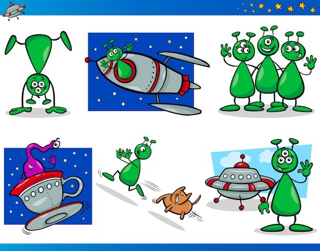 Conjunto de personagens de personagens de aliens ou marcianos