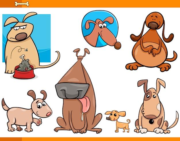 Conjunto de personagens de personagens de cães
