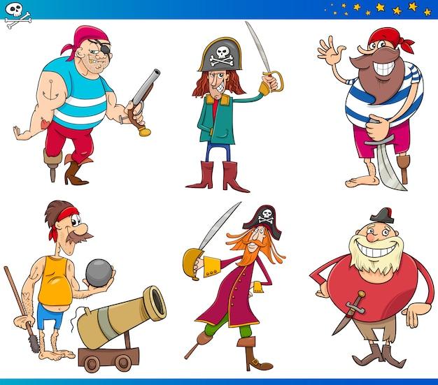 Conjunto de personagens de personagens de piratas