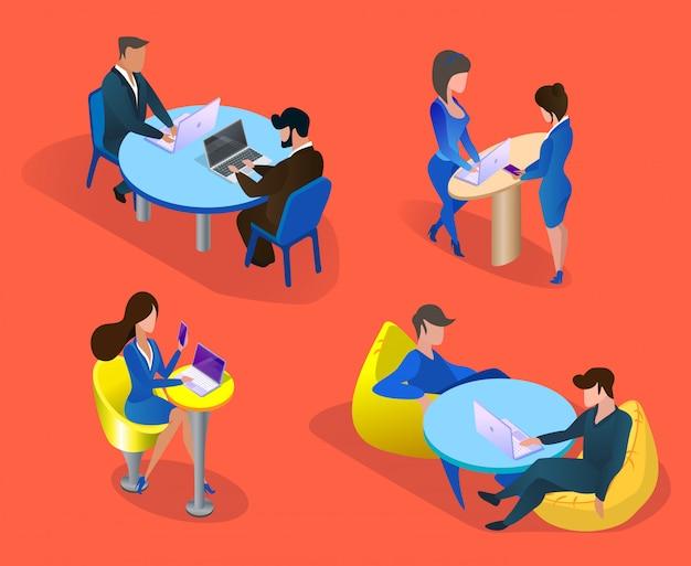 Conjunto de personagens de pessoas de negócios isolado