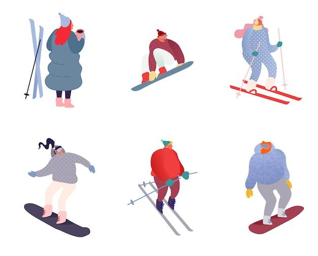 Conjunto de personagens de pessoas do esporte de inverno. desportista de snowboard, esquis. esportes de snowboard, esqui e patinação. salto de snowboarder, férias de férias em família saudáveis apartamento isolado.