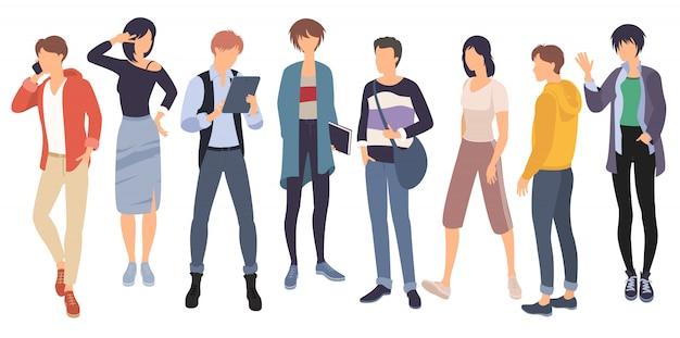 Conjunto de personagens de pessoas estão agindo e se comunicando