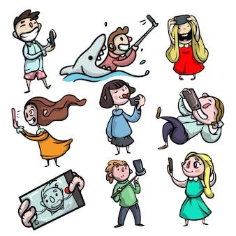 Conjunto de personagens de pessoas fofas e engraçadas que fazem foto de selfie