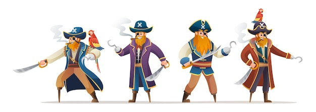 Conjunto de personagens de piratas segurando uma espada