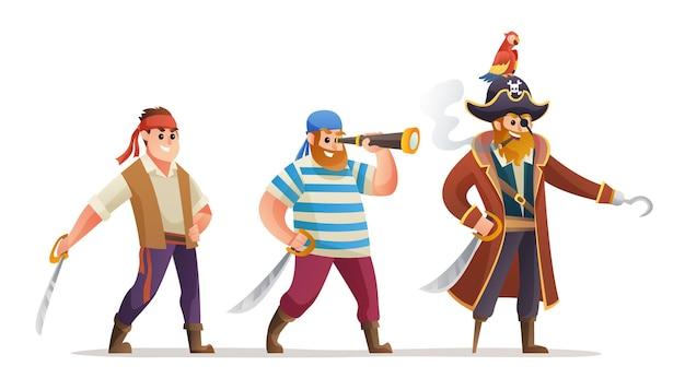 Conjunto de personagens de piratas segurando uma ilustração de espada