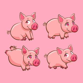 Conjunto de personagens de porco fofo