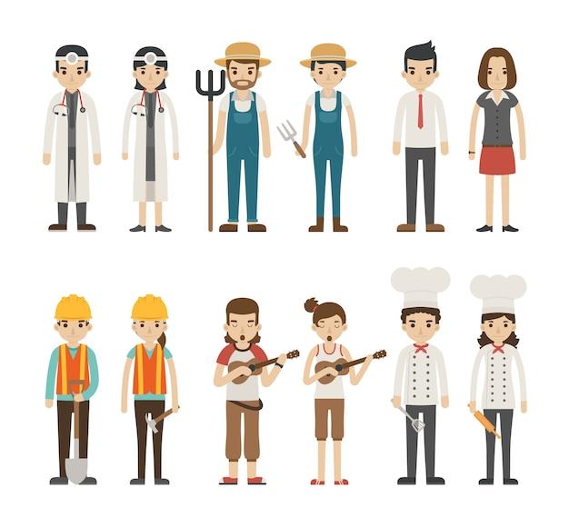 Conjunto de personagens de profissão,