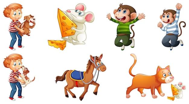 Conjunto de personagens de rimas infantis diferentes, isolado no fundo branco