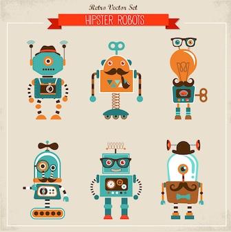 Conjunto de personagens de robôs hipster vintage
