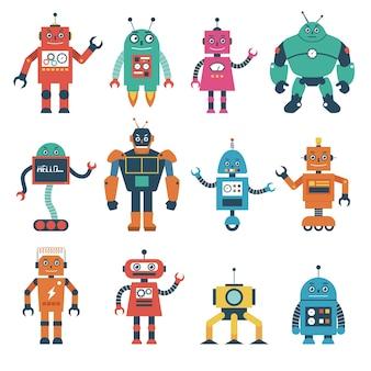 Conjunto de personagens de robôs isolados no fundo branco