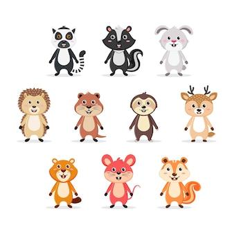 Conjunto de personagens de roedores fofos conjunto premium